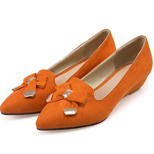 Orange Shoes Women's Brown Orange Pump Almond Bowknot Toe Basic Heel Heels amp; Fall Spring Wedge ZHZNVX Suede Pointed 5qdwA56