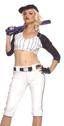 Leg Avenue Women's Star Player Costume, White/Navy, Small/Medium for $<!--$13.72-->