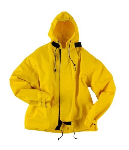 Neese HT35AJ Flame Resistant PVC/Nylon Hydro-Tec 35 Rain Jacket with Attached Hood, Large, White
