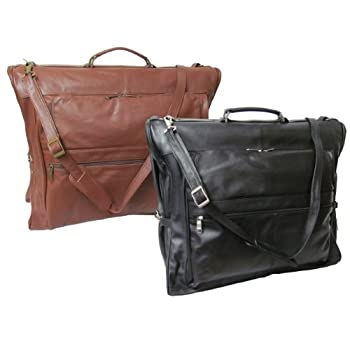 Image of Leather Three-suit Garment Bag - Black (#2435-0) Luggage