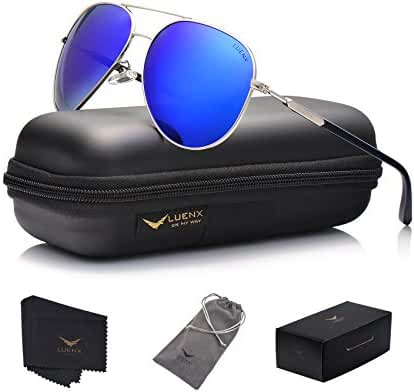 LUENX Aviator Sunglasses Womens Mens Polarized Mirror with Case - UV 400 Protection