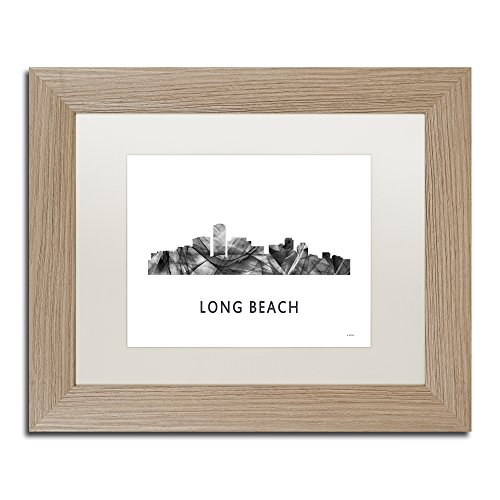 Long Beach CA Skyline WB-BW by Marlene Watson, White Matte, Birch Frame 11x14-Inch