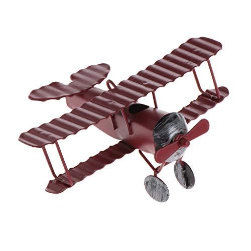 Metal Vintage Model Kit - Vintage Metal Plane Mold-Glider Biplane Pendant Airplane Model Toy For Home Decor (Red)