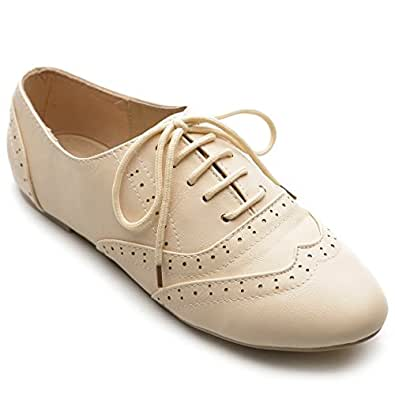 Ollio Women's Shoe Classic Lace Up Dress Low Flat Heel Oxford(6 B(M) US, Beige)
