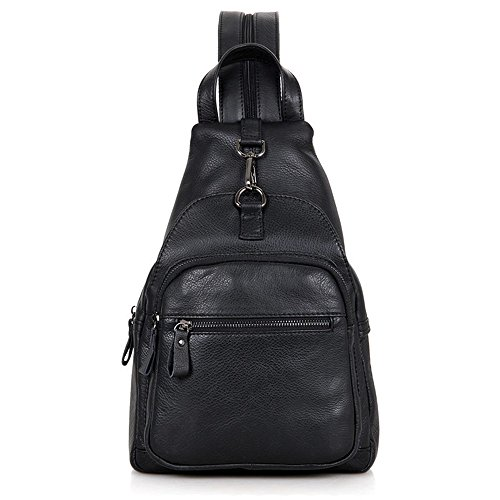 Chest Casual Business Crossbody Bags Sports Crossbody Daypack Outdoor Sport Genuine Backpack Men Black Sling for Hiking Men's Backpack Ybriefbag Bag Sling Women for Messenger Travel Shoulder Leather Z8q6Aw