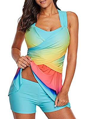 LOSRLY Women Color Block Rainbow Tankini Swim Dress Two Pieces Swimsuit with Shorts (M-3XL)