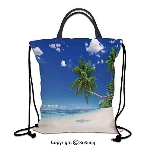 Ocean 3D Print Drawstring Bag String Backpack,Photo of a Paradise Beach in Tropics Exotic Hot Summer Day with Sky Landscape,for Travel Gym School Beach Shopping,Blue White Green