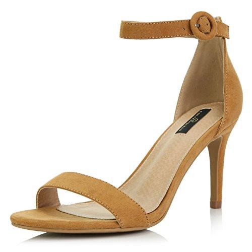 DailyShoes Women's Stilettos Open Toe Pump Ankle Strap Dress High Heel Sandals, Camel Suede, 8.5 B(M) US