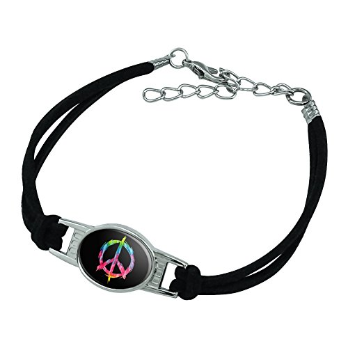 Graphics and More Tie Dye Peace Sign Novelty Suede Leather Metal Bracelet - Black (Suede Bracelet Peace Sign)