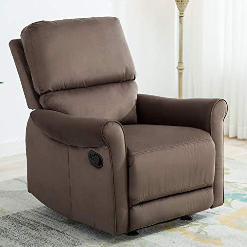 ANJ Manual Gliding Recliner Living Room Chair Chocolate