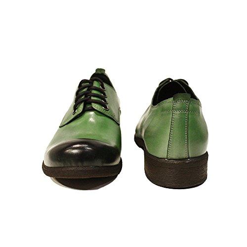 PeppeShoes Modello Luca Handmade Italiennes Cuir pour des Hommes Couleur Vert Chaussures Oxfords Cuir de Vachette Cuir Peint à la Main Lacer