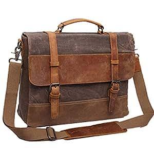 Mens Messenger Bag,Waterproof Canvas Leather Computer Laptop Bag,15.6 Inch Briefcase,Vintage Canvas Bag,Genuine Leather Shoulder Bag(Brown),Brown