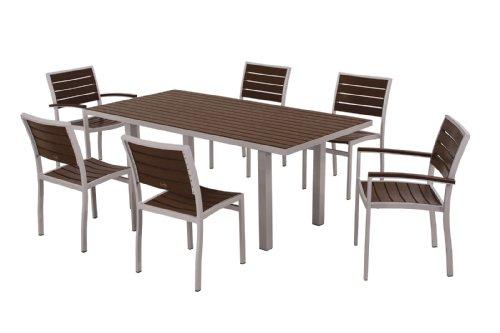 POLYWOOD PWS117-1-11MA 7-Piece Dining Set, Euro, Textured Silver Mahogany