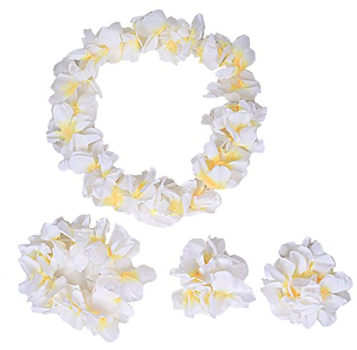 Hawaiian Luau Flower Leis Jumbo Necklace Bracelets Headband Set(White)