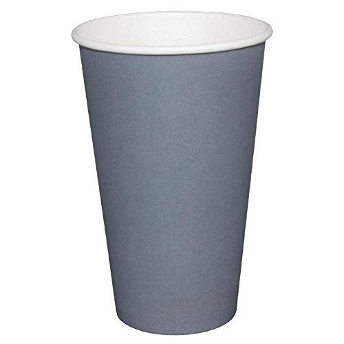 1000x Fiesta Hot Cup Single Wall Charcoal 16oz Disposable Take Away