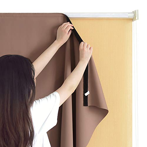 RYB HOME Outdoor Curtain Liner Match with Roller Shades, Home Depot Outside Roll Up Blind Sunscreen, Light Block with Sticky Grip for Patio Awning/Gazebo, 4 ft x 6 ft, Mocha (Home Blinds Shades Depot Patio)