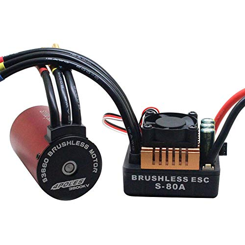 S3660 3800KV Brushless Motor + Waterproof 80A ESC Speed Controller Combo 1/8 1/10 RC Car - Chartsea Scale RC Accessories (Motor+80A ESC)