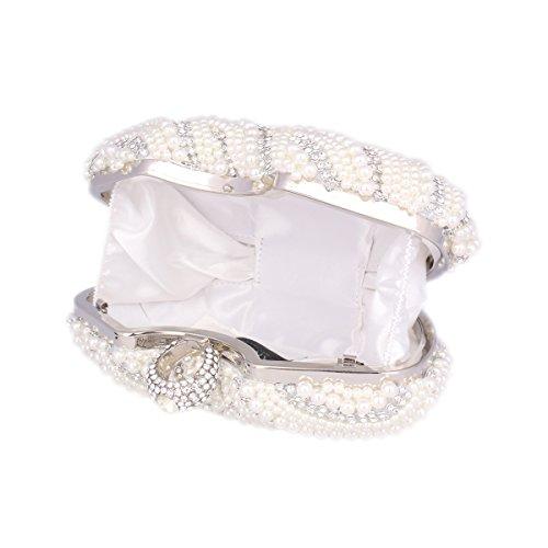 Pearl Rhinestone Bag Clutch White Evening Shining Adoptfade Womens Beaded qARPU