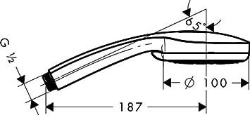 Porter Set Douchette Croma 100 1 jet avec Flexible de Douche 1,25m et Porte-Douchette 27574000