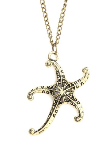 (Magic Metal Starfish Necklace Aquatic Sea Star Coral Reef Gold Tone NJ29 Ocean Mermaid Pendant Fashion Jewelry)