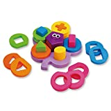 Wishland My First Shape Sorting Puzzle Board Flower Geometric Nesting Stacker Baby Toddler Learning Toy