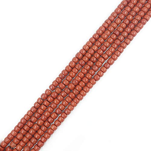 6x8mm Drum Red Jasper Beads Loose Gemstone Beads for Jewelry Making 15 Inch (60-63pcs) ()