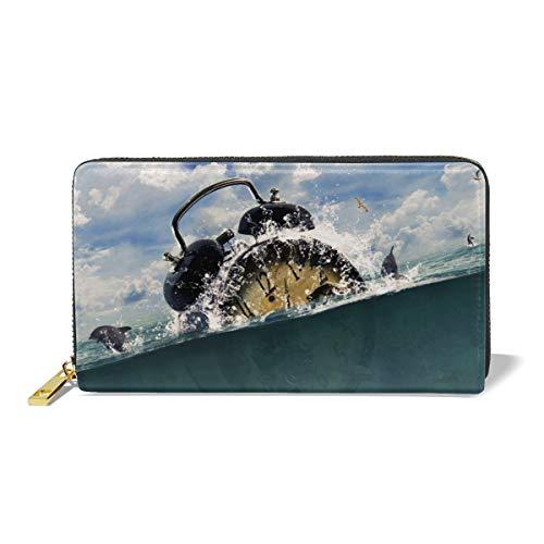 Women Leather Wallet Zipper Around Clutch Purse Waterproof Card Holder - Lost In Ocean]()