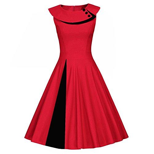 amp;S Polka A abito MEI Le retrò Pinup Hepburn donne Black Swing Red X1xCfdx