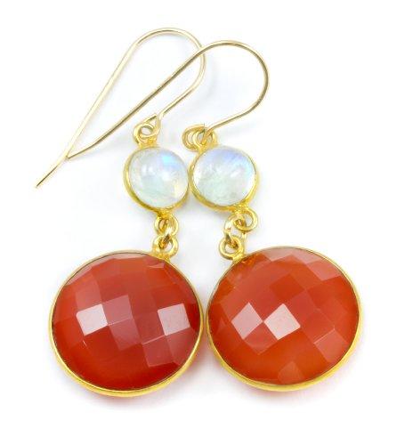 14k Gold Filled Round Faceted Carnelian Blue Moonstone Earrings Drops Goldtone Bezel Set Burnt Orange