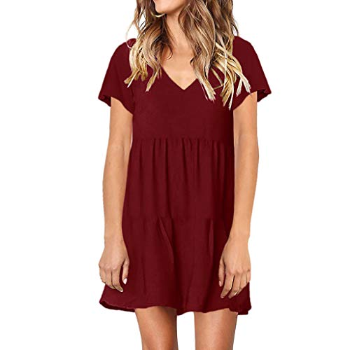 TANGSen Women Casual Solid Dress Summer Short Sleeve V-Neck Ladies Loose Dress Swing Ruffle Mini Fashion Dress Wine