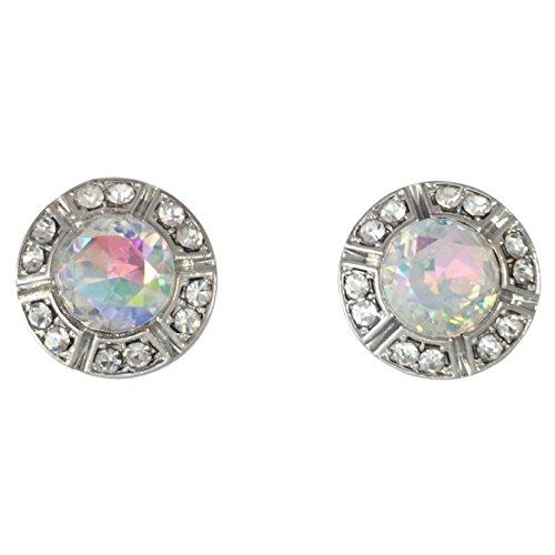 Round Rhinestone Stud Post Small Silver Tone Earrings - Assorted colors (AB Aurora Borealis)