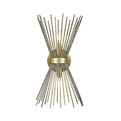 """Rivet Mid-Century Modern Antique Gold 2-Light Starburst Wall Sconce, 17.5"""" H, With LED Bulbs, Metal"""