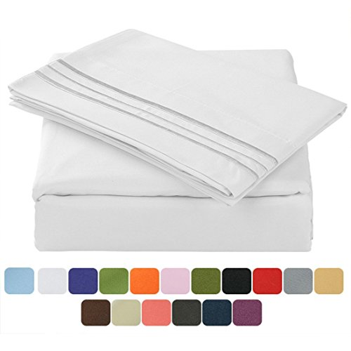 Queen Size Bed Sheets (TasteLife 105 GSM Deep Pocket Bed Sheet Set Brushed Hypoallergenic Microfiber 1800 Bedding Sheets Wrinkle, Fade, Stain Resistant - 4 Piece(White,Queen))