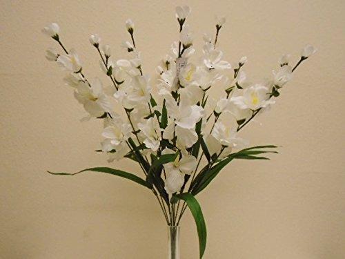 CREAM Gladiolus Bush 9 Artificial Silk Flowers 25