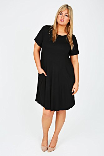 Yoursclothing Plus Size Womens Swing Dress With Draped Pockets Size 20 Black