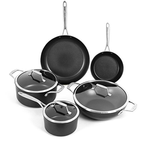 TECHEF - Onyx Collection Nonstick Cookware Set, with New Teflon Platinum Non-Stick Coating (PFOA Free), 8-Piece