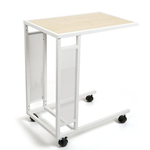 CORNERIA Mobile Side Table - End Table for Coffee Laptop Tablet - Snack Table Slides Next to Sofa, Couch, Bed, Ottoman (White)