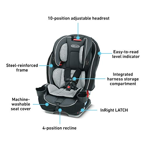 41aUXtJTYTL - Graco SlimFit 3 In 1 Car Seat | Slim & Comfy Design Saves Space In Your Back Seat, Darcie