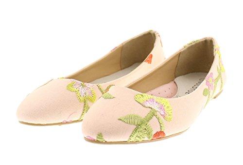 Or Orteil Lois Loisy Floral Brodé Ballet Plat Pompe Pas De Talon Bout Pointu Slip Sur Confort Chaussure Rose