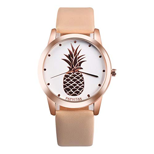 Womens Men Watches Casual Pineapple Patterned Faux Leather Band Analog Quartz Sport Wrist Watch Clock Brown
