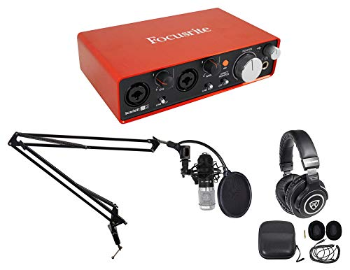 (Focusrite Single Person Podcast Podcasting Package w/Interface+Mic+Headphones)