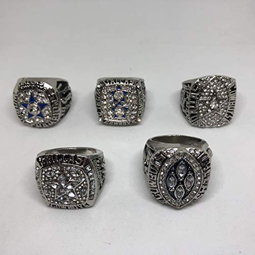 Set of 5 Dallas Cowboys Super Bowl VI, XII, XXVII, XXVIII, XXX Replica Ring-Size 14 Silver Color Collectible 1971 1977 1992 1993 1995 Aikman, Brown, Staubach, Irvin USA SHIPPER