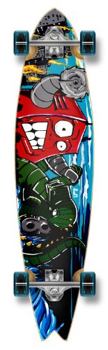 New Blank & Graphic FISHTAIL Complete Longboard skateboard w/ 71mm wheels, ROBOT (Robot Skateboard Deck)