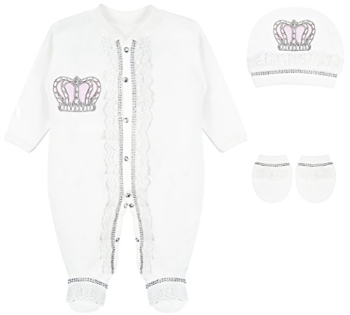 (Lilax Baby Girl Newborn Lace Detail Crown Jewels Layette 3 Piece Pink Gift Set 0-3 Months)