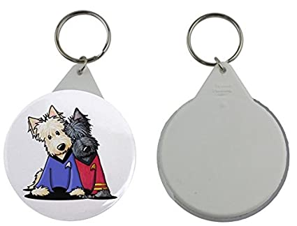 Llavero redondo con una imagen de dos West Highland Terrier ...
