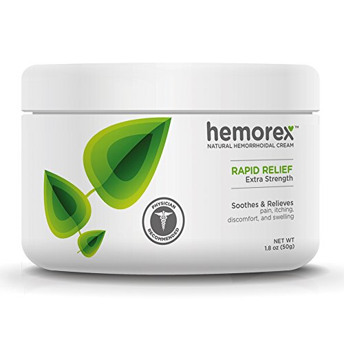 Hemorrhoid Homeopathic Cream - Hemorex Hemorrhoid Rapid Pain Relief Treatment Cream - Natual Formula - Extra Strength - Jar 1.8oz