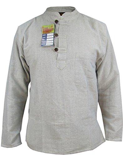 Mens-Plain-Cotton-Hemp-Grandad-Collarless-Pocket-Light-Grey-Shirt