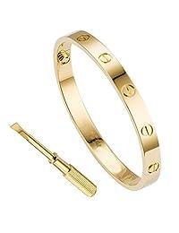 Womens Bangle Bracelet Stainless Steel Cuff Bangle Bracelet for Gift with Screwdriver Bracelet for Valentines Wedding Men Girl Boy