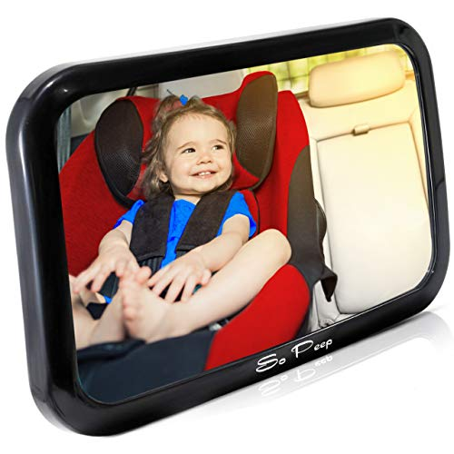 Shatterproof Baby Backseat Mirror for Car - View Infant in Rear Facing Car Seat - Newborn Safety with Secure Crash Tested Headrest Double-Strap - Essential Car Seat Accessories from So Peep