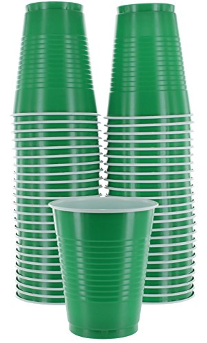 Amcrate Green Colored 16-Ounce Disposable Plastic Party Cups - Ideal for Weddings, Party's, Birthdays, Dinners, Lunch's. (Pack of 50)